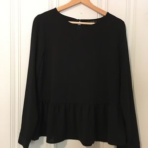 Black long sleeve peplum blouse